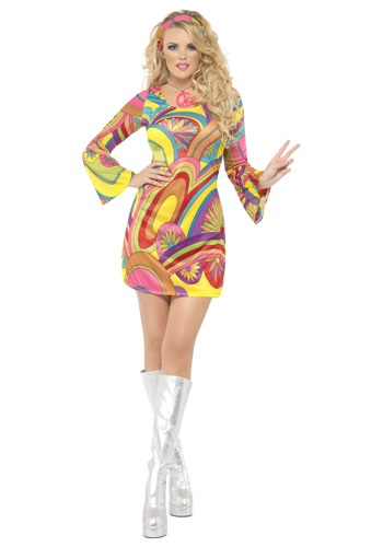Click Here to buy 60s Sexy Flower Power Costume from HalloweenCostumes, CDN Funds & Shipping