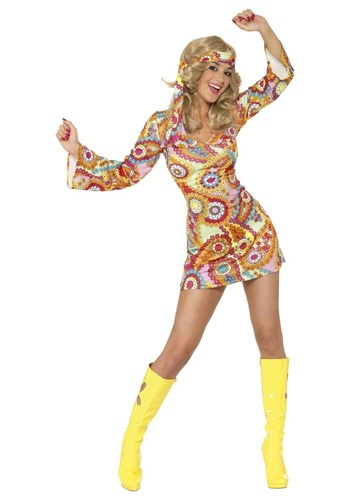 Click Here to buy 1960s Paisley Hippie Costume from HalloweenCostumes, CDN Funds & Shipping