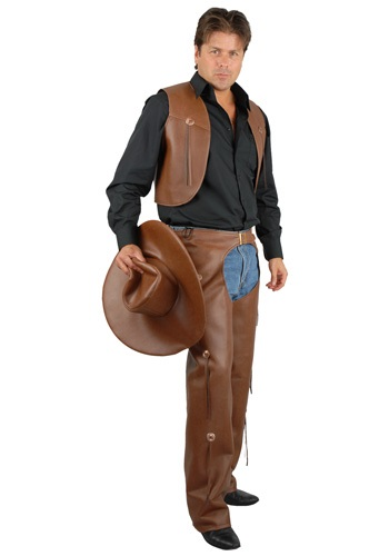 Mens Brown Costume Chaps and Vest