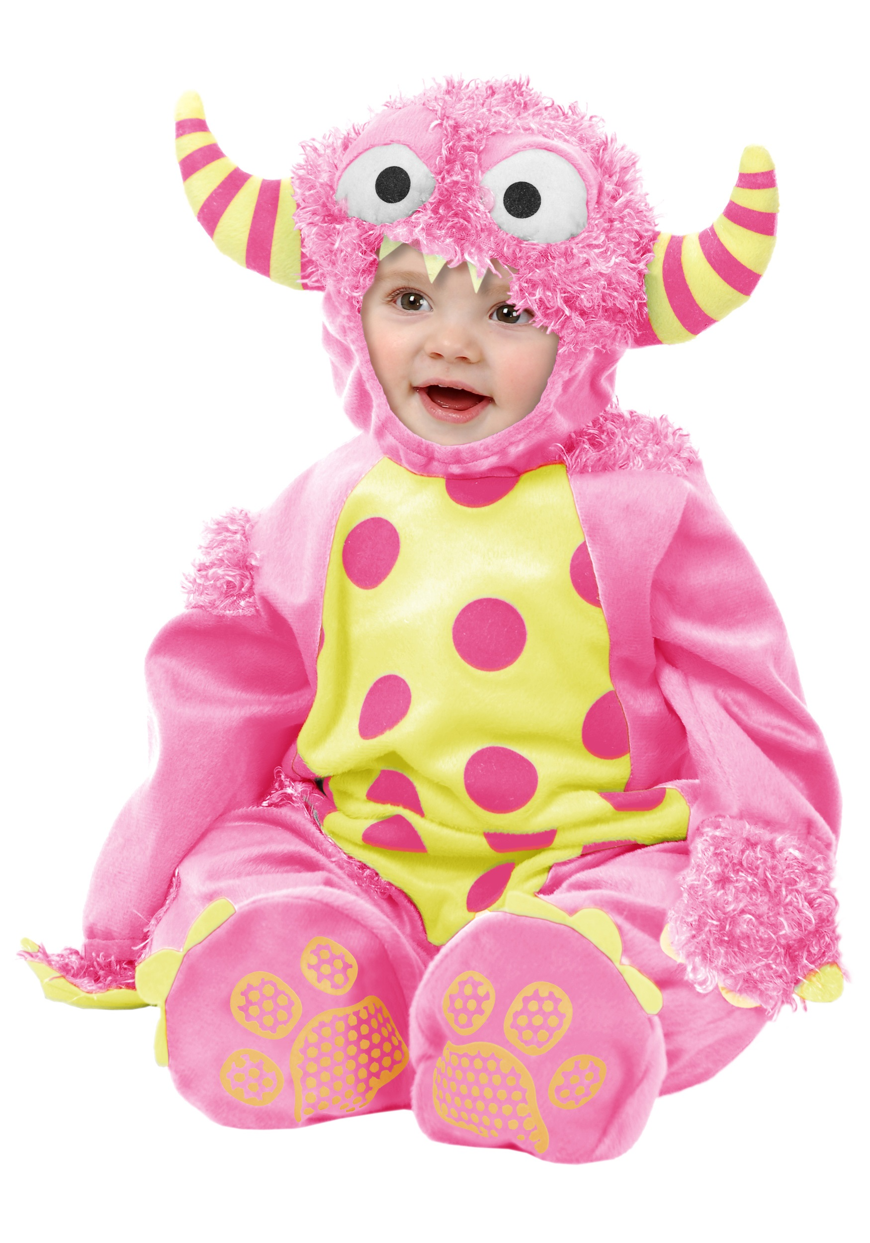 Infant Pink Mini Monster Costume Baby Furry Monster Jumpsuits