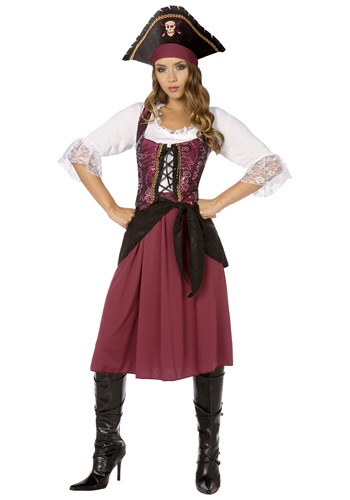 Click Here to buy Plus Burgundy Pirate Wench Costume from HalloweenCostumes, CDN Funds & Shipping