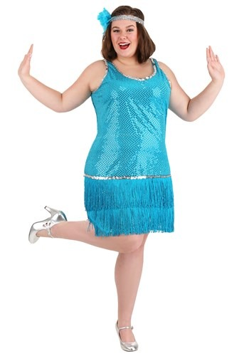 Plus Size Turquoise Sequin & Fringe Flapper Costume