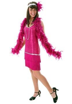 Plus Size Sequin & Fringe Fuchsia Flapper Dress Costume