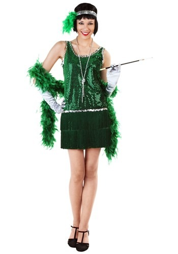 Click Here to buy Sequin & Fringe Green Flapper Costume Plus Size from HalloweenCostumes, CDN Funds & Shipping