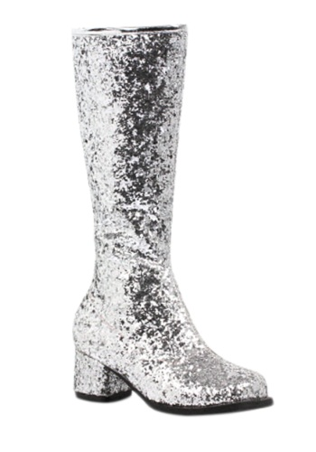 Click Here to buy Girls Silver Glitter Go-Go Boots from HalloweenCostumes, CDN Funds & Shipping