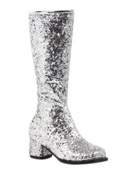 Girls Silver Glitter Gogo Boots Front