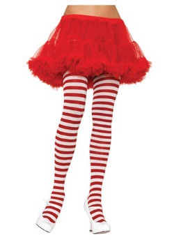 Plus Size White / Red Striped Tights