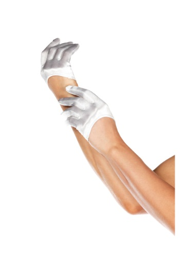 White Mini Cropped Satin Gloves
