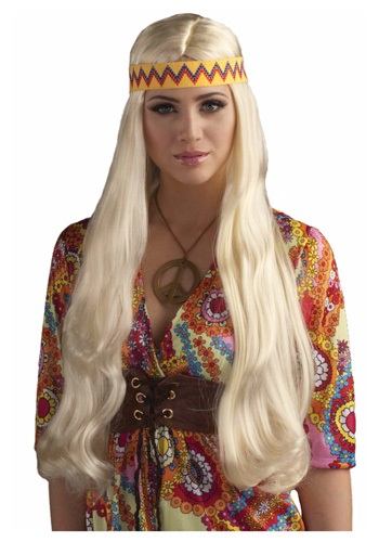 Click Here to buy Blonde Hippie Chick Wig w/ Headband from HalloweenCostumes, CDN Funds & Shipping