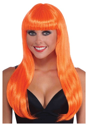 Click Here to buy Neon Orange Long Wig from HalloweenCostumes, CDN Funds & Shipping