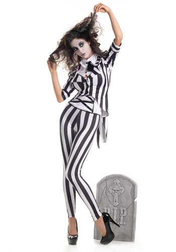 Adult Graveyard Ghost Costume | Beetlejuice Womens Suit