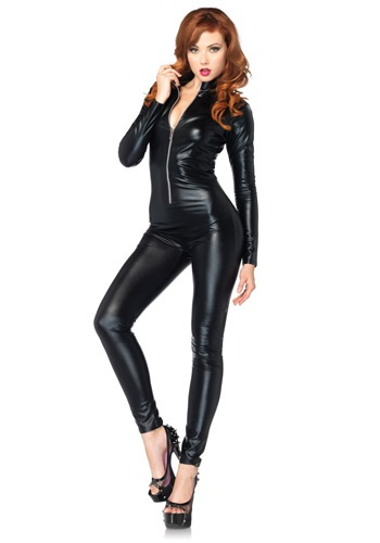 Womens Sexy Black Zipper Catsuit Costume