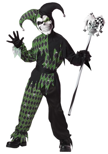Green Scary Jester Costume for Kids