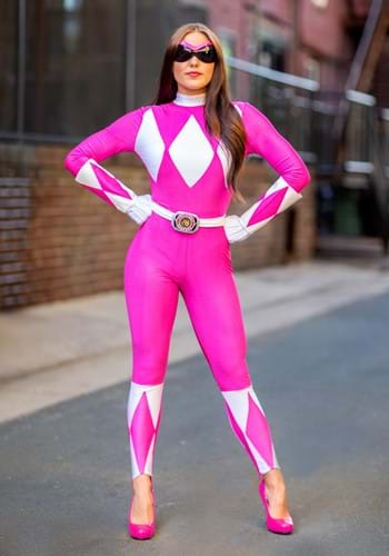 Click Here to buy Pink Ranger Sassy Bodysuit Costume from HalloweenCostumes, CDN Funds & Shipping