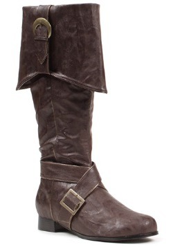 Mens Brown Buckle Pirate Boots