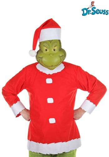 Click Here to buy Adult Grinch Costume Top, Hat and Half Mask from HalloweenCostumes, CDN Funds & Shipping