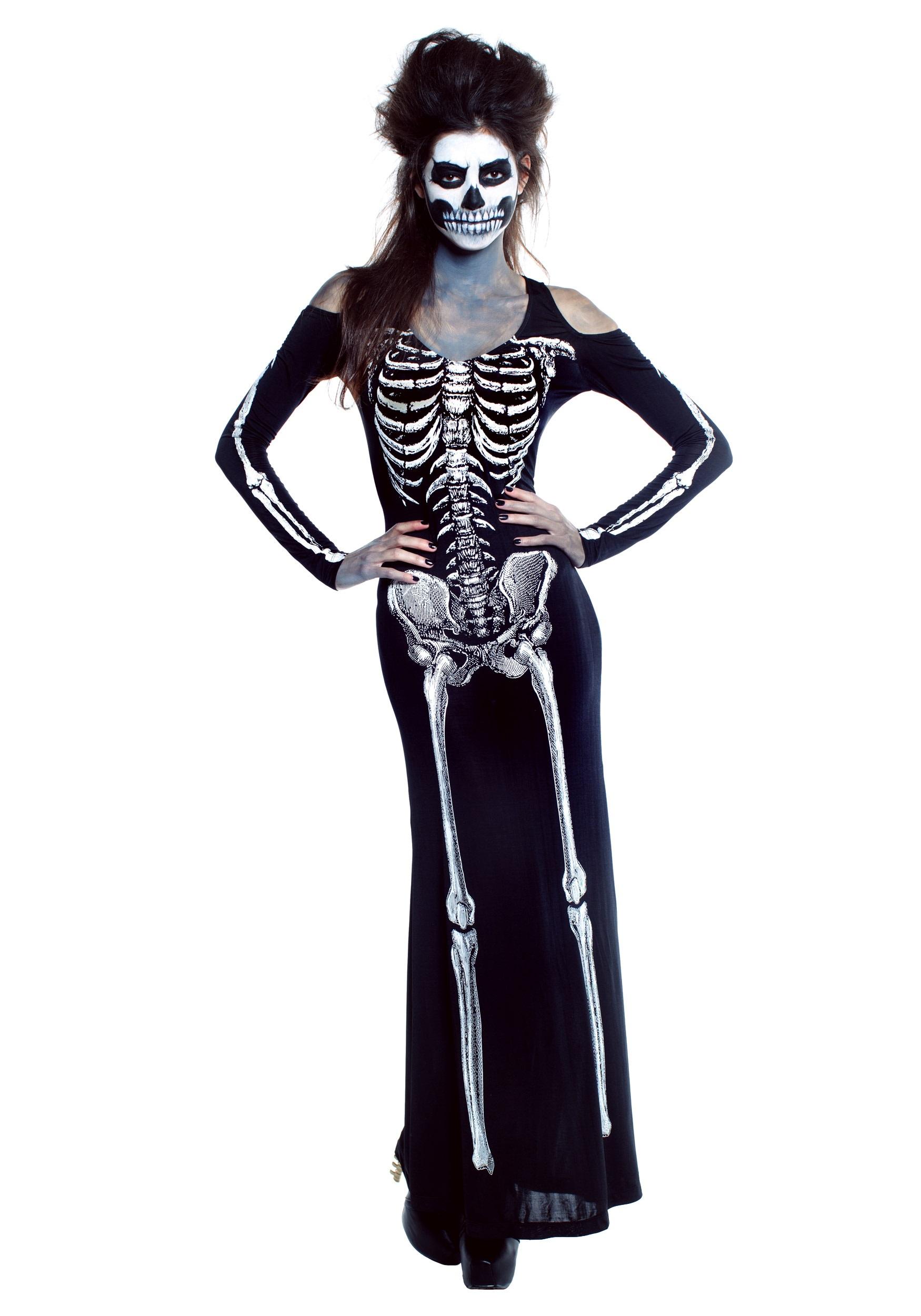 2edd0efa7d Womens bone appetit skeleton long dress costume jpg 1750x2500 Womens  skeleton