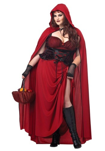 Click Here to buy Dark Red Riding Hood Plus Size Costume from HalloweenCostumes, CDN Funds & Shipping