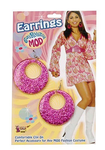 Click Here to buy Pink Mod Earrings from HalloweenCostumes, CDN Funds & Shipping