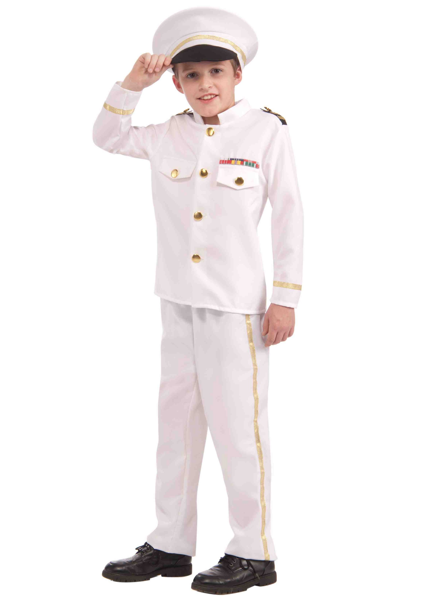 Adult Mens Pirate Navy Commander Costume Admiral Halloween Fancy Dress Outfit