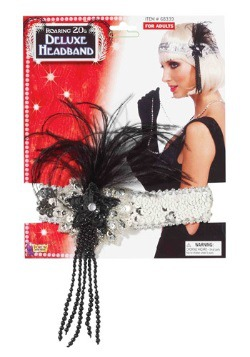 Black and Silver Beaded Flapper Headband