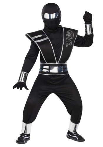 Click Here to buy Kids Silver Mirror Ninja Costume from HalloweenCostumes, CDN Funds & Shipping