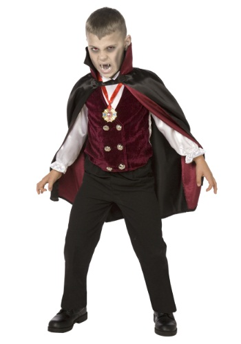 Click Here to buy Boy Kids Deluxe Vampire Costume from HalloweenCostumes, CDN Funds