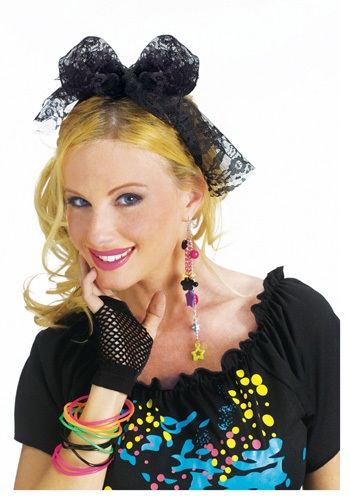 Click Here to buy 80s Lace Costume Headband from HalloweenCostumes, CDN Funds & Shipping