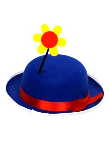 Blue Clown Derby Hat with Flower
