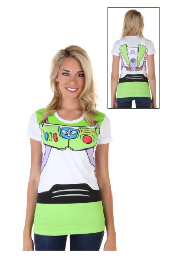 Womens Toy Story Buzz Lightyear Costume T-Shirt Front