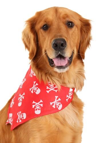 Red Skulls and Bones Bandana Pet Costume