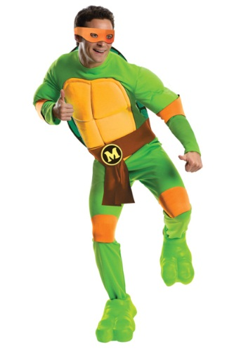 Click Here to buy Deluxe Adult Michelangelo Costume from HalloweenCostumes, CDN Funds & Shipping