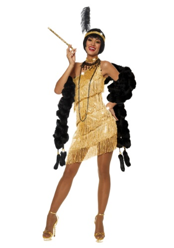 Click Here to buy Womens Dazzling Gold Flapper Costume from HalloweenCostumes, CDN Funds & Shipping