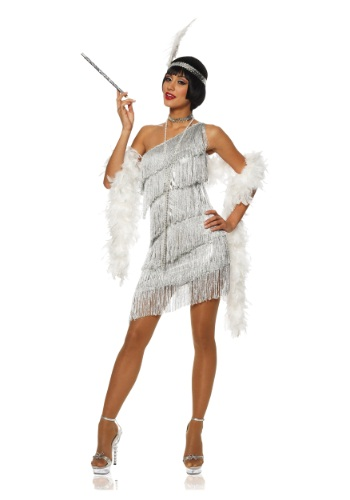 Womens Dazzling Silver Flapper Dress