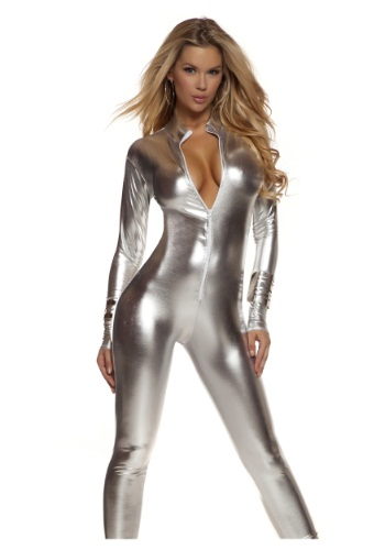 Solid Silver Mock Neck Jumpsuit Costume for Women