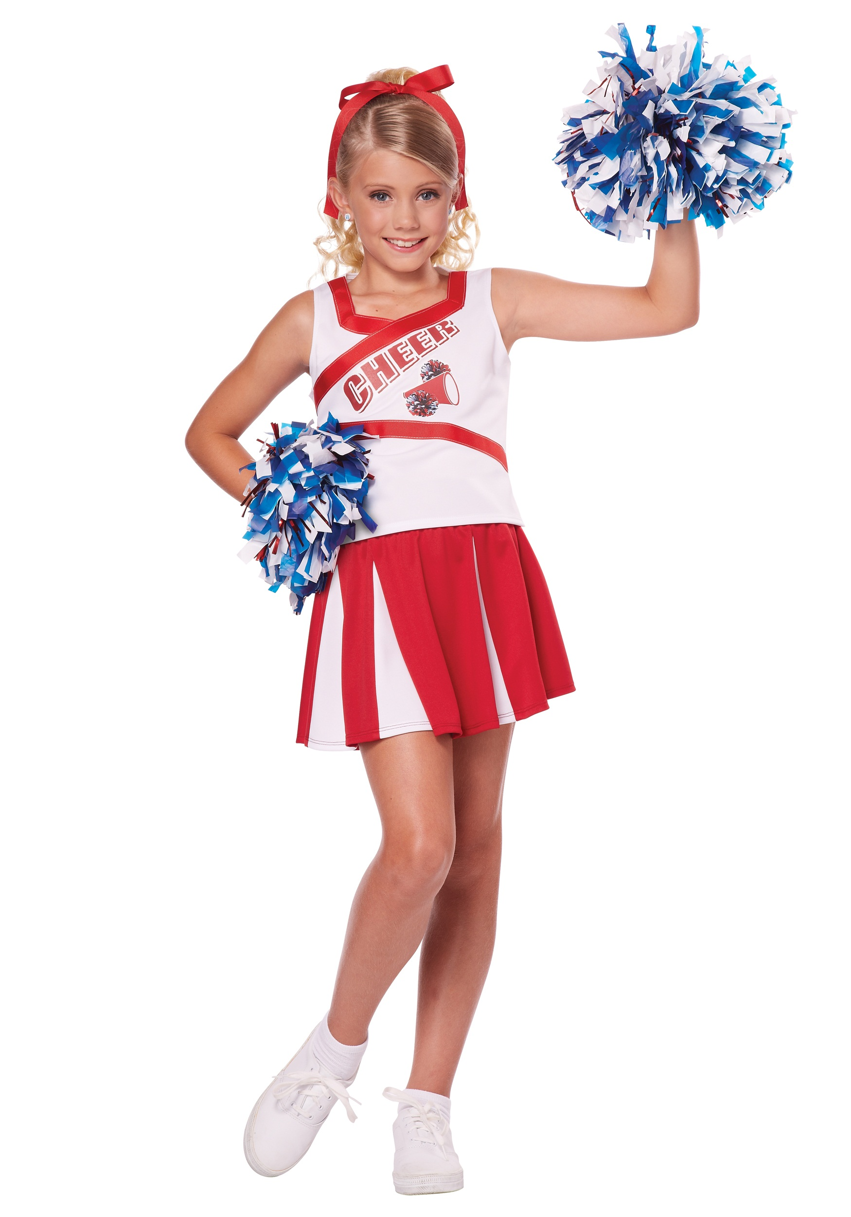 Cheerleader Pom Pom WHITE Poms Megaphone Costume Adult Child Cheer Leader Prop