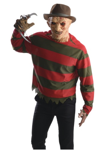 Click Here to buy Adult Freddy Krueger Costume Shirt w/ Mask from HalloweenCostumes, CDN Funds & Shipping