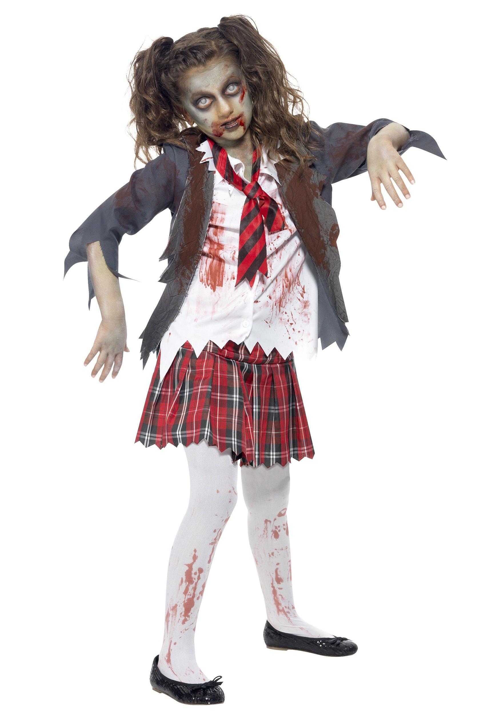 Halloween Costumes For Girls Scary.Kids Zombie School Girl Costume