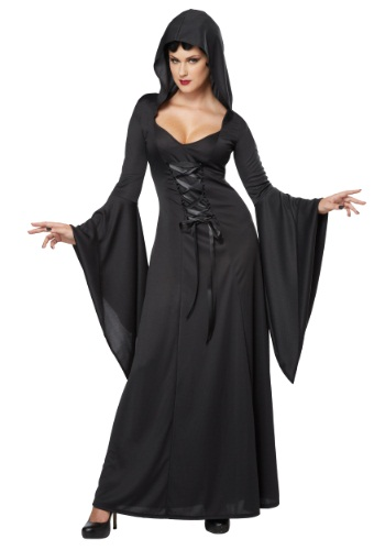 Womens Hooded Black Lace Up Robe Costume