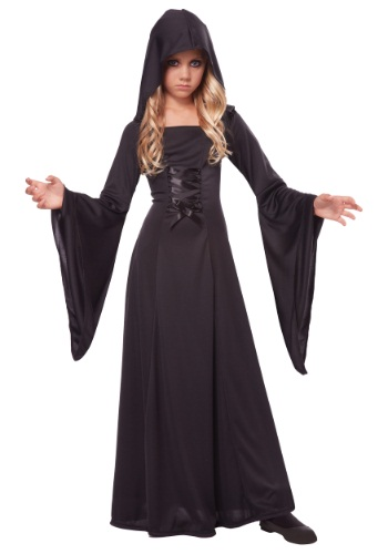 Girls Deluxe Black Hooded Robe Costume