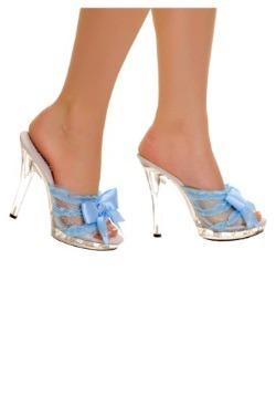 Clear Slip In Peep Toe Heels w Blue Ribbon