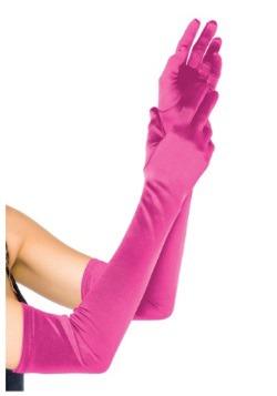 Extra Long Satin Fuchsia Gloves