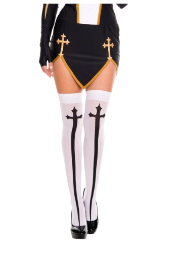 Gothic Cross Thigh High Stockings