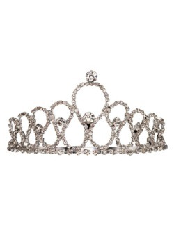 Metal Tiara with Silver Rhinestones