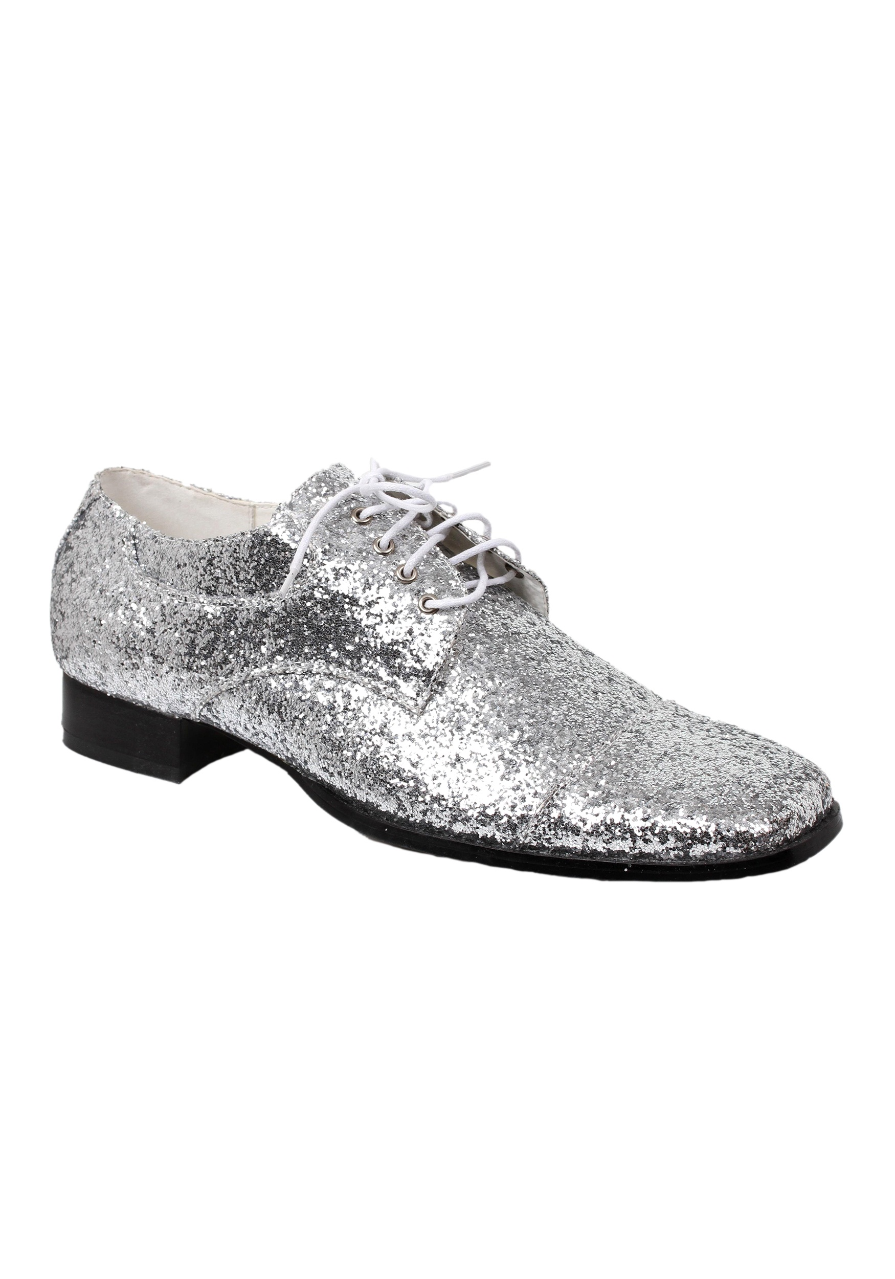 INOpets.com Anything for Pets Parents & Their Pets Men's Silver Glitter Disco Shoes
