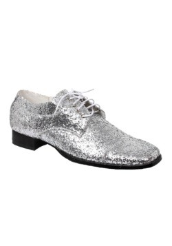 Mens Silver Glitter Disco Shoes