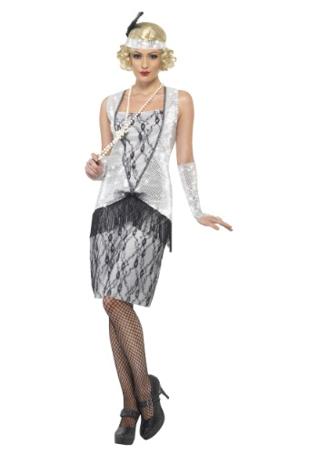 Click Here to buy Womens 1920s Silver Flapper Costume from HalloweenCostumes, CDN Funds & Shipping
