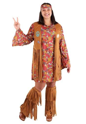 Click Here to buy Peace & Love Plus Size Costume | Hippie Plus Size Costume from HalloweenCostumes, CDN Funds & Shipping