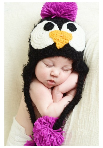 Click Here to buy Baby Black Feather Penguin Hat with Pink Accents from HalloweenCostumes, CDN Funds & Shipping