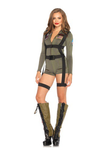Womens Top Gun Romper Costume